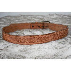 VTG Tooled Leather Flower Belt  Small, Camel Color